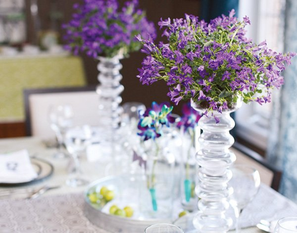 mad scientist dinner party tablescape with purple flowers