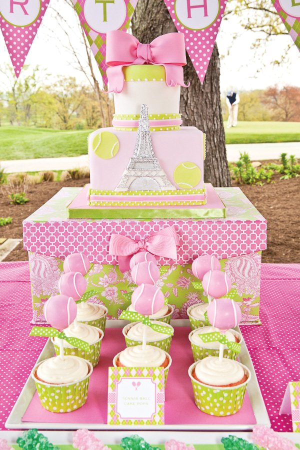 Preppy French Open Inspired Tennis Party pink and green cake