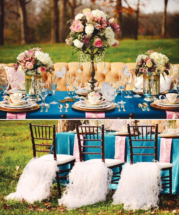 alice in wonderland and marie antoinette tablescape chair decor