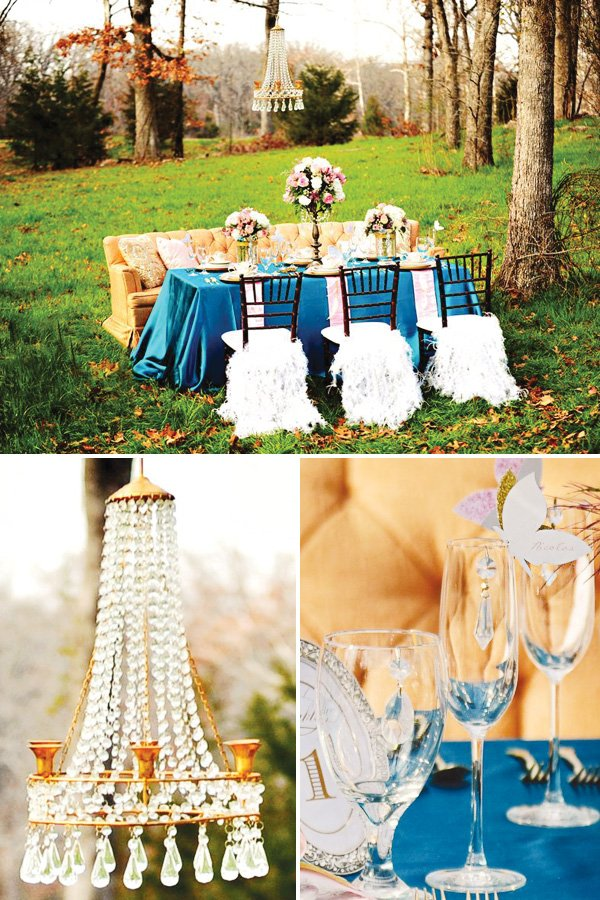 alice in wonderland and marie antoinette tablescape with chair feather skirts and a chandelier