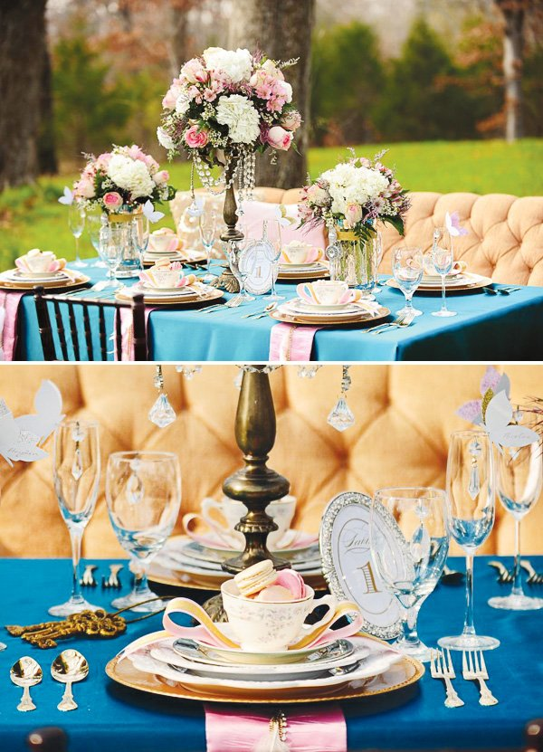 alice in wonderland and marie antoinette tablescape with pastel macaroons