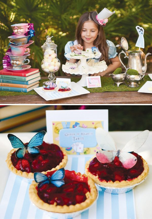 alice mad hatter party butterfly tarts