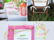 neon bridal shower invitations, tablescape, and chair banner