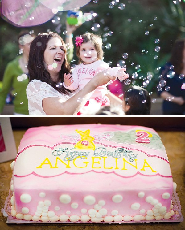 pink angel birthday cake and bubbles