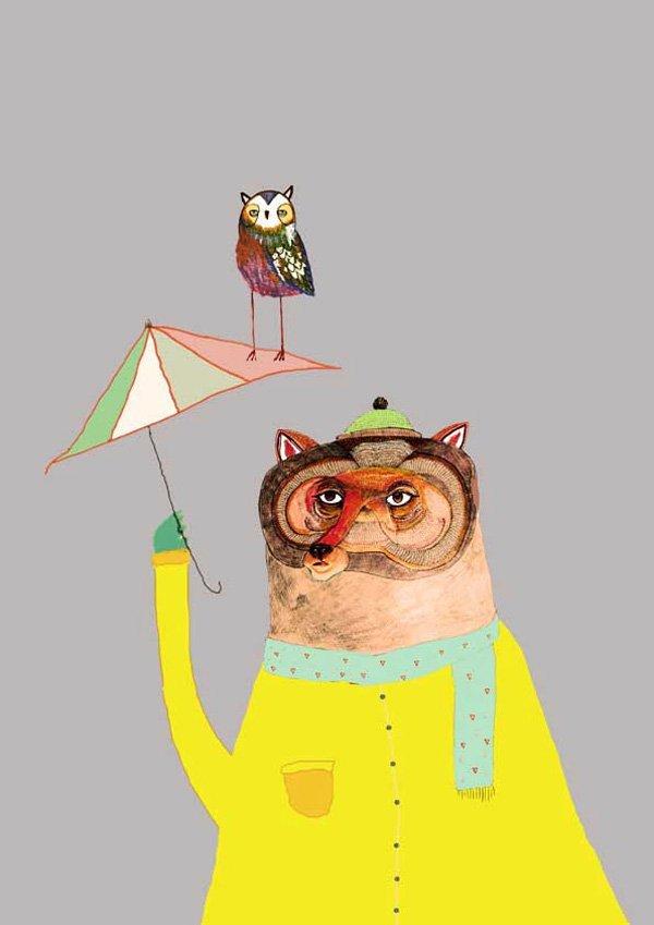 a bear with an umbrella