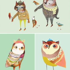 owl and bear illustrations