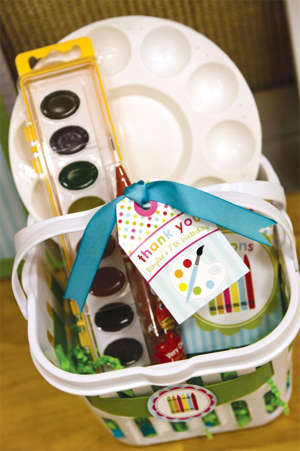 arts and crafts party favor and supply baskets