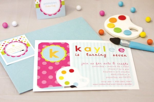 arts and crafts party invitation