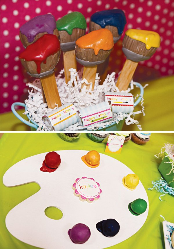 arts and crafts party paint palette cookies