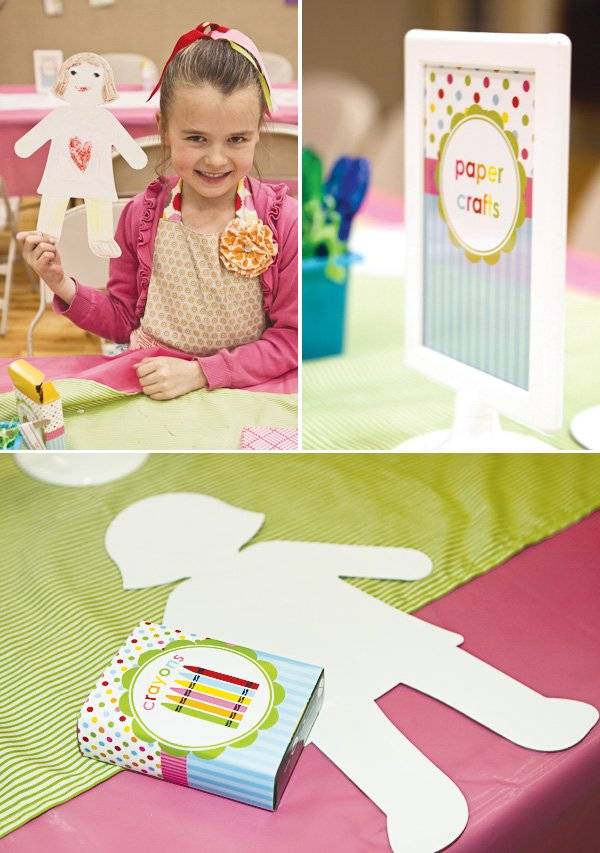 arts and crafts party paper doll coloring station