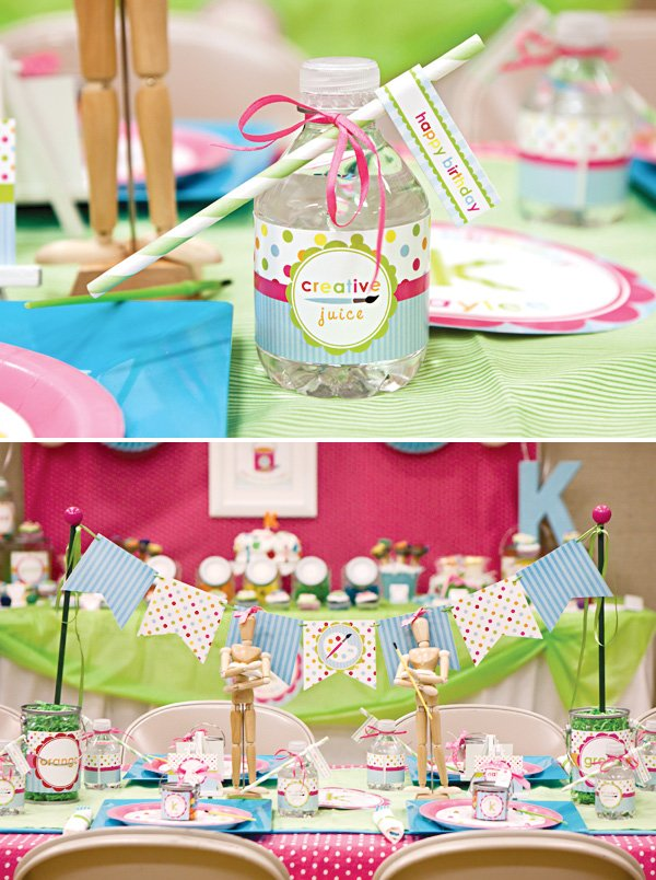arts and crafts birthday party water bottle labels