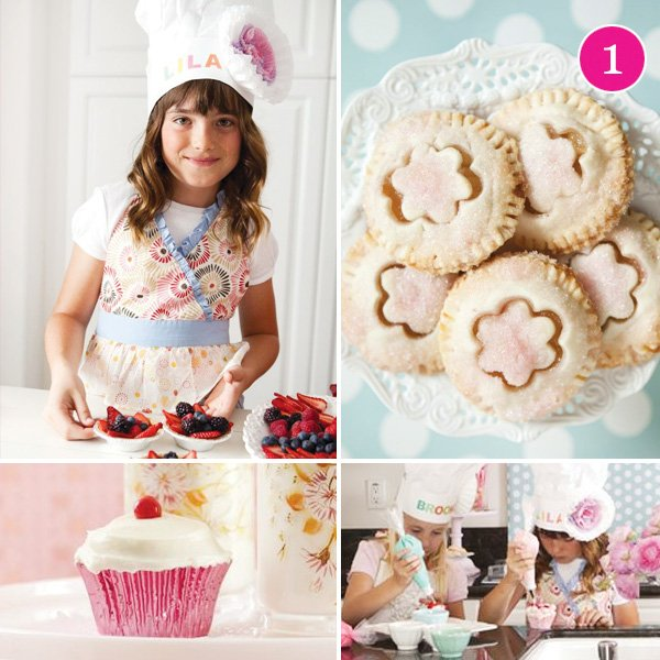 baking party with chef hats and pretty cookies
