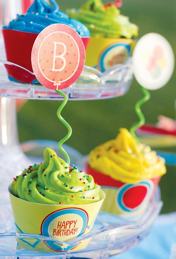 balloon themed party ideas cupcake toppers