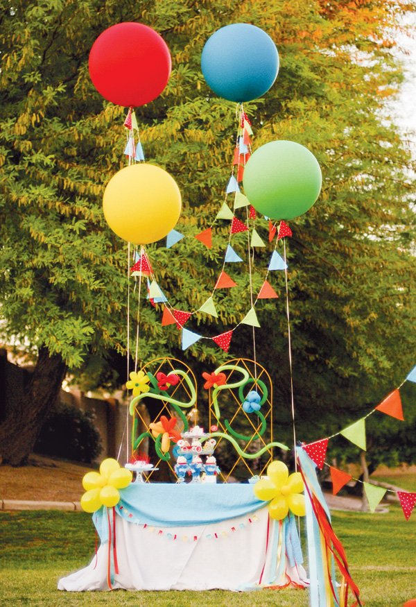 balloon themed party ideas for a dessert table