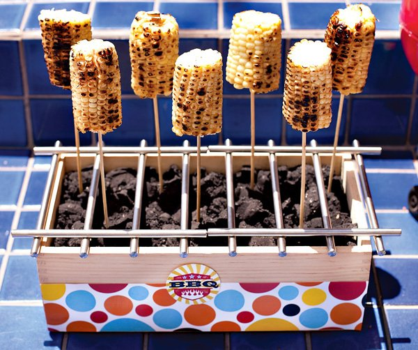 bbq corn on sticks for a summer party