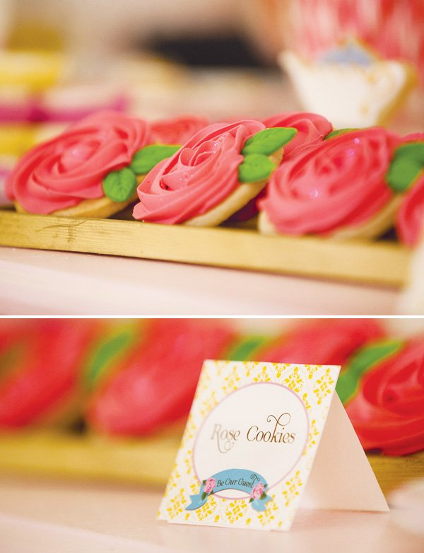 beauty and the beast theme rose cookies