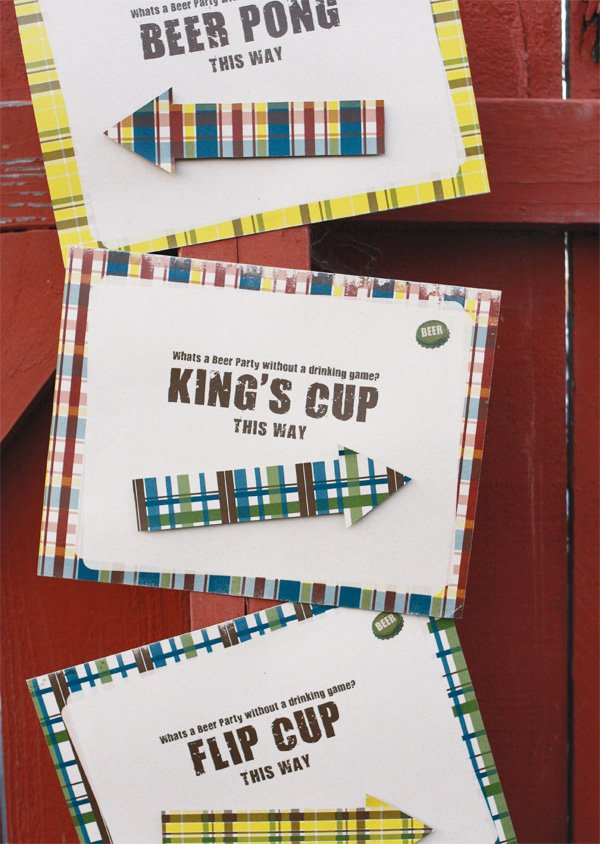 plaid beer tasting party game signs