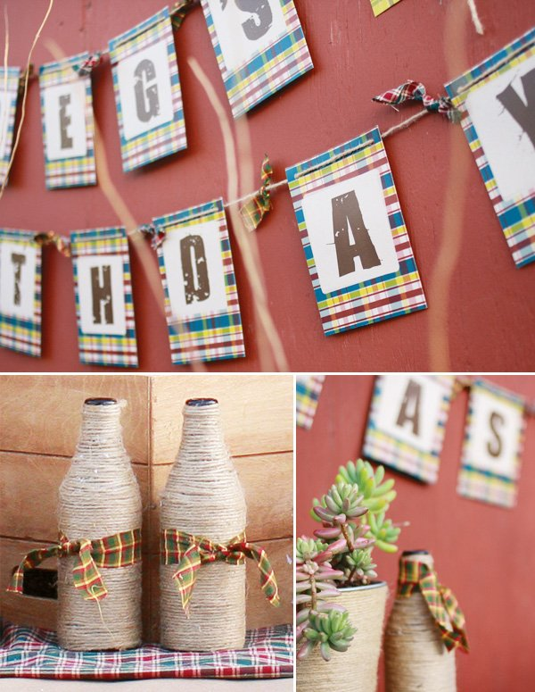plaid beer tasting party with ribbons and jute
