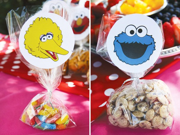 big bird and cookie monster snack labels
