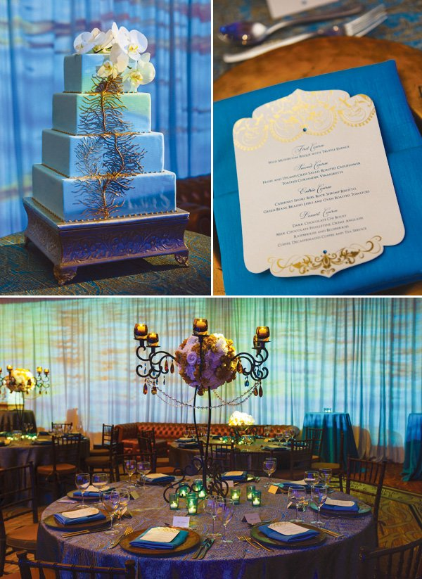 blue empress wedding cake and menu