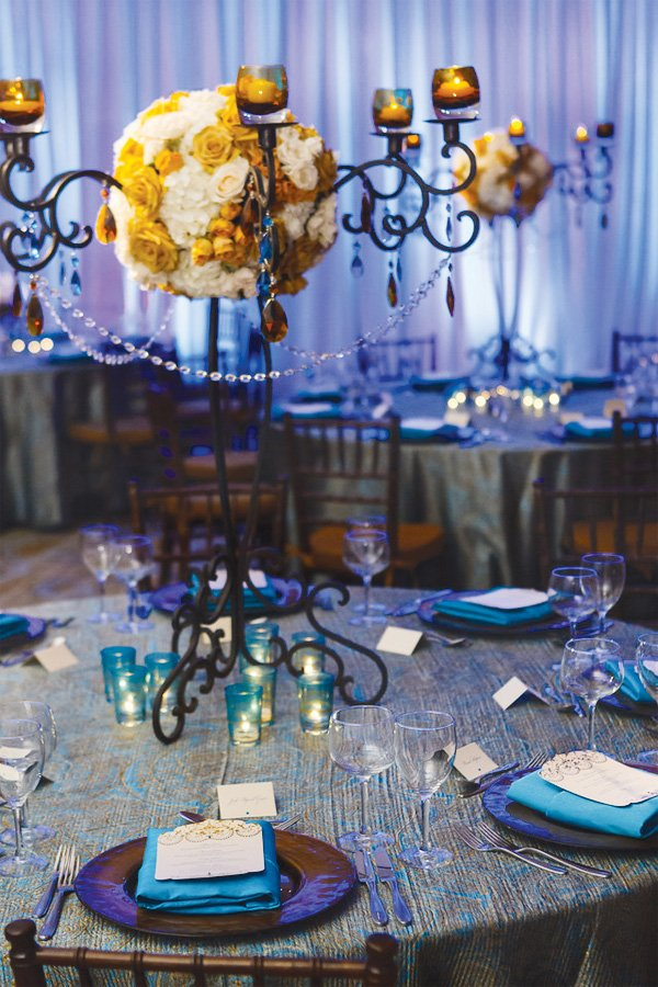blue empress wedding centerpiece