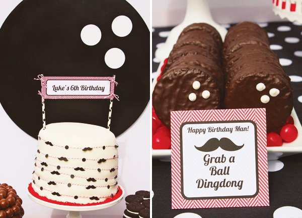 bowling ball ding dongs and bowling themed cake