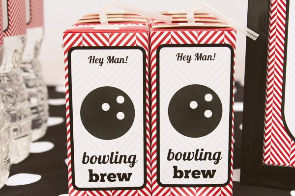 bowling party juice box labels