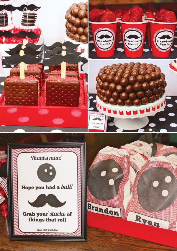 malt ball cake and mustache ice cream sandwiches