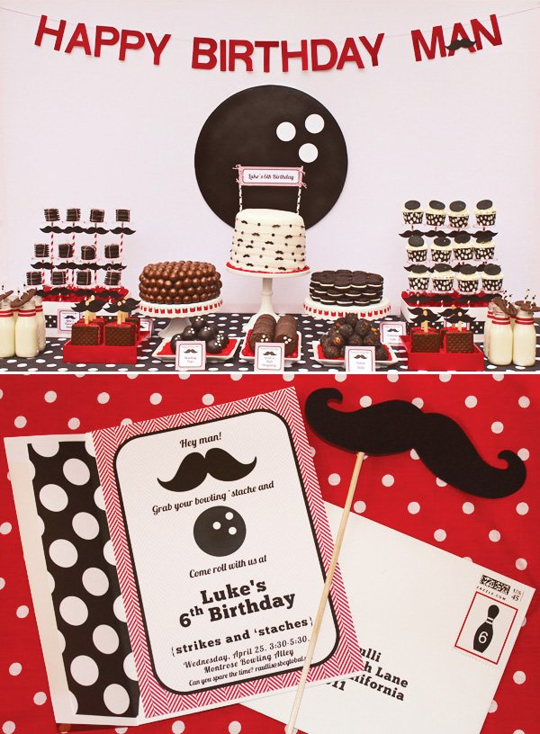 bowling birthday party dessert table and bowling invitations
