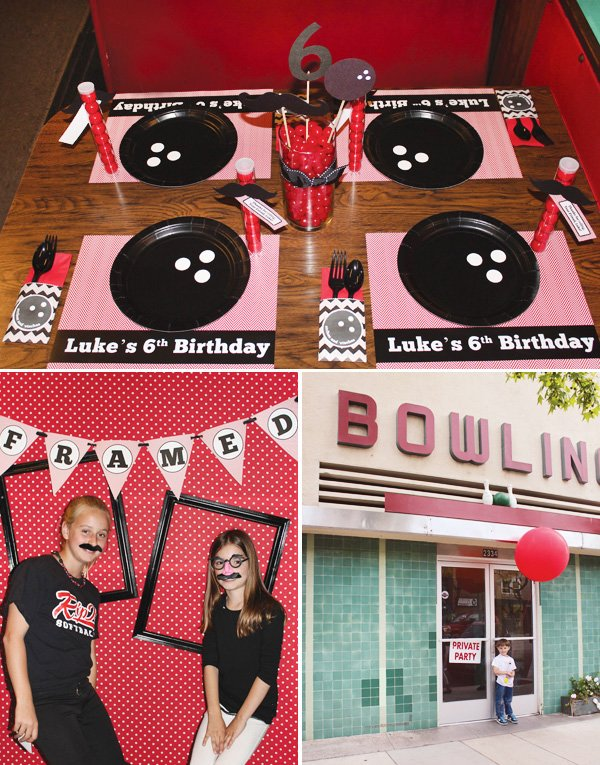 bowling party - kids table place settings and photo booth props