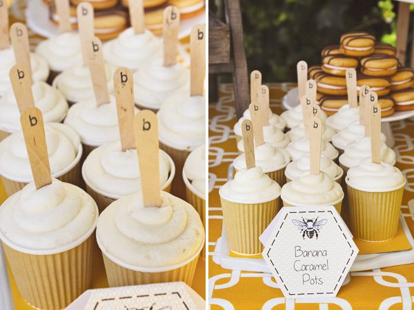 bumble bee party banana caramel pots