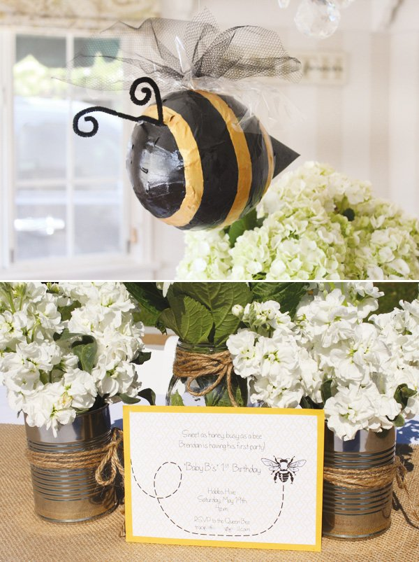 bumble bee party piñata and invitation