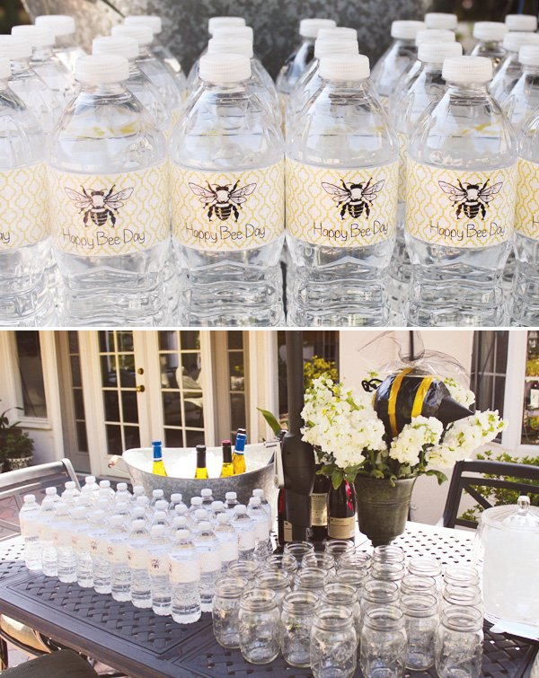 bumble bee party water bottle labels