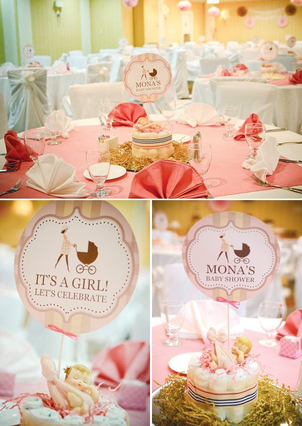 burberry baby shower with diaper cake table centerpieces