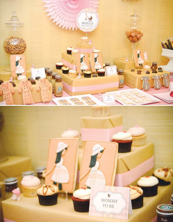 burberry baby shower dessert table