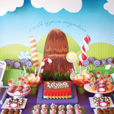 candy willy wonka birthday party dessert table