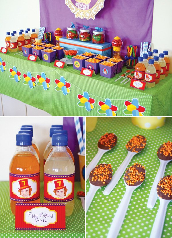 candy willy wonka birthday party drink labels