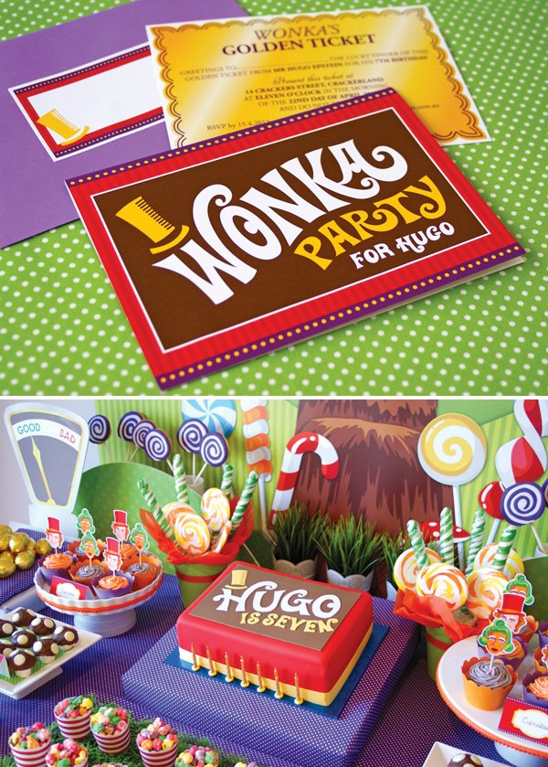 candy willy wonka birthday party invitation