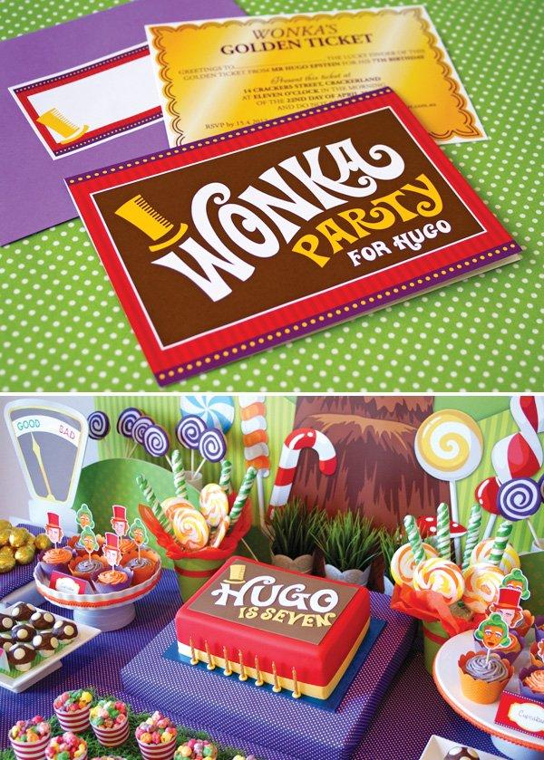 candy willy wonka birthday party invitation