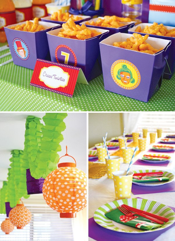 candy willy wonka birthday party place settings