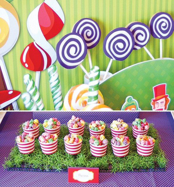 candy willy wonka birthday party popcorn in striped cups