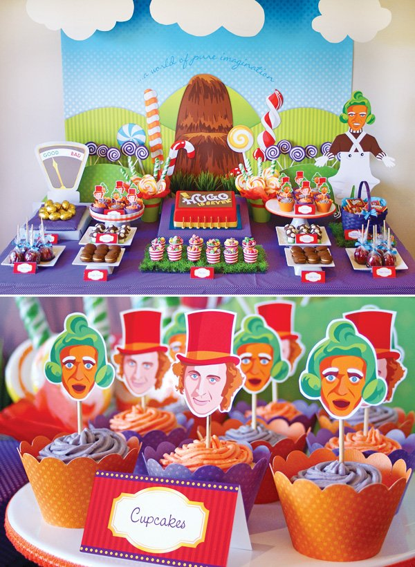 candy willy wonka birthday party sweets table