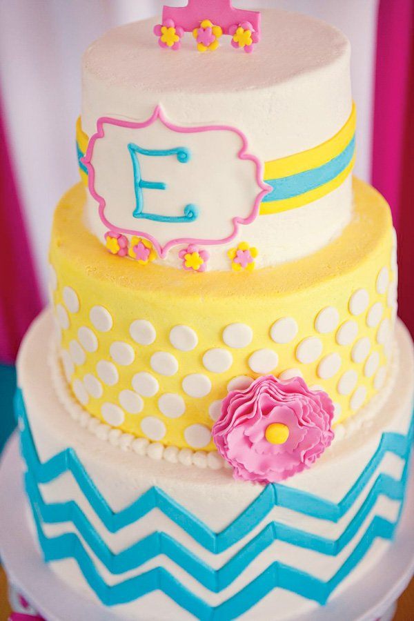 candy coated chevron and polka dot birthday cake