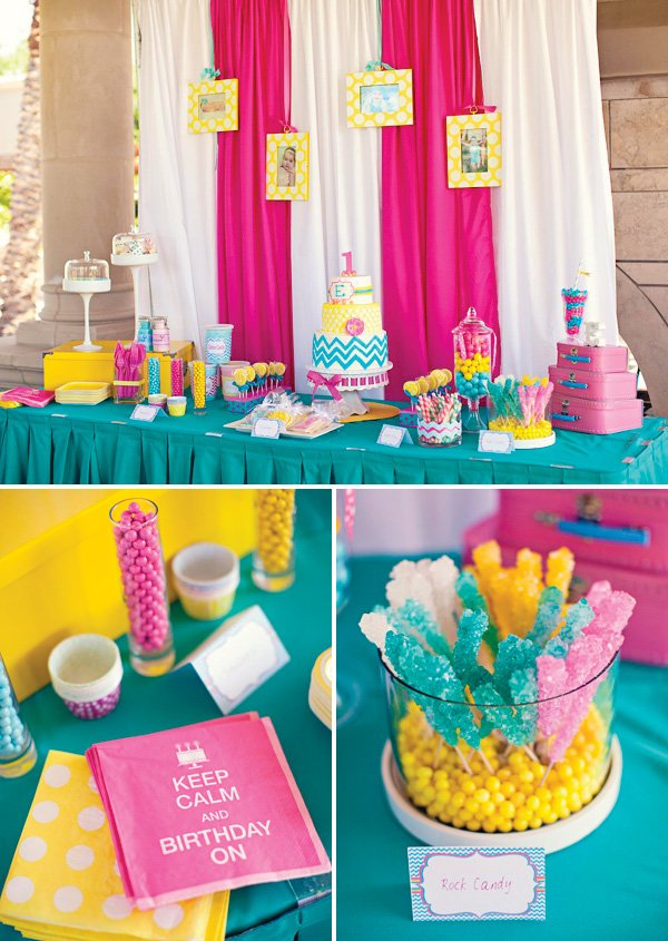 candy coated chevron and polka dot dessert table