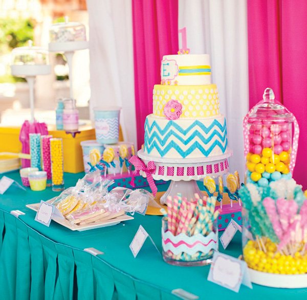 colorful and bright chevron birthday party dessert table
