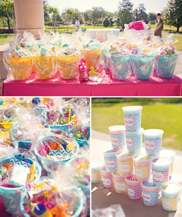 chevron party cotton candy favors and buckets of gifts
