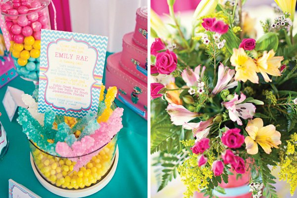 candy coated chevron and polka dot party invitation