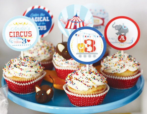 magical circus birthday party cupcake toppers