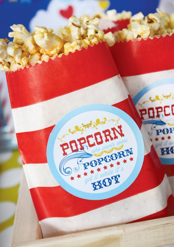 magical circus birthday party popcorn bags