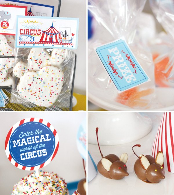 magical circus birthday party prizes and chocolate mice